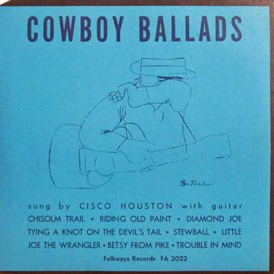 CISCO HOUSTON - Cowboy Ballads - 10 inch