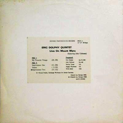 ERIC DOLPHY QUINTET FEAATURING JOHN COLTRANE - Live On Mount Meru - LP